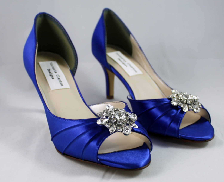 Royal Blue Wedding Heels: Royal Blue Low Heel Wedding Shoe Size 8 Sale By