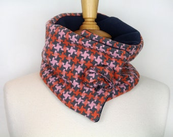 Orange and pink check neckwarmer. Unique womens scarf. Orange snood. Womans tweed cowl. Warm winter neckwarmer. Winter snood. Unique scarf
