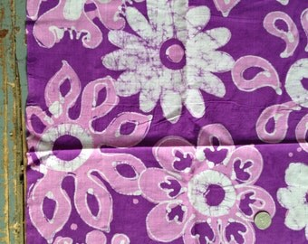 Purple Hand Dyed Floral Batik Fabric 2+ Yds