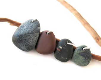 Beach Stone Pendants Top Drilled Mediterranean Pebble Beads River Rock Beads Diy Jewelry Findings Stone Charms Green Brown FAIRY CHARMS