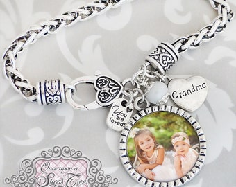 Grandma Gift- Bracelet, Photograph Jewelry- Grandma, Mom-You are loved-Bracelets for Woman-Christmas Gift, Custom Photo, Mother's Day Gift