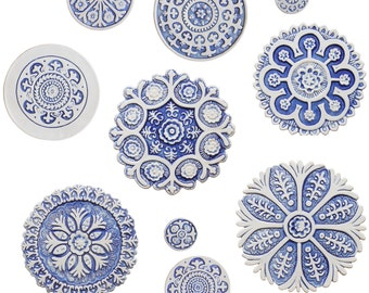 Suzani circle wall sculpture made from ceramic - Set of 10 blue and white circles - ceramic tile - blue and white wall art