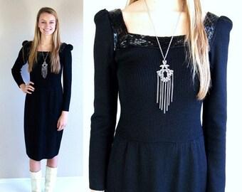 Half Off vtg 80s black ST JOHN authentic designer Knit DRESS beaded Small cocktail puff sleeve slinky