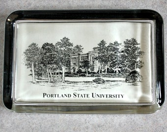 Vintage Flat Glass Paperweight - Portland State University Drawing - Eglomise Design - Retro Great Holiday / Birthday Gift estate sale find