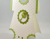 Baby Girl, Baby Boy, Onesie Greeting Card, Neutral, Green, White, Polka Dots, Cute, Rattle, Baby Shower, New Baby, Welcome Baby