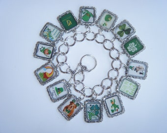 St. Patrick's Day Bracelet Altered Art Charm Bracelet Handmade when you order