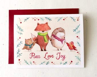 Woodland Friends Christmas Card by Megumi Lemons