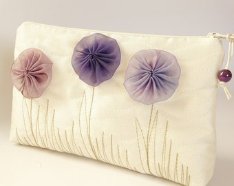 Flower Girl Wedding Gift Bag,  Ivory Clutch with Purple Flowers, Romantic Coin Purse for Girl, Mother Daughter Handbag