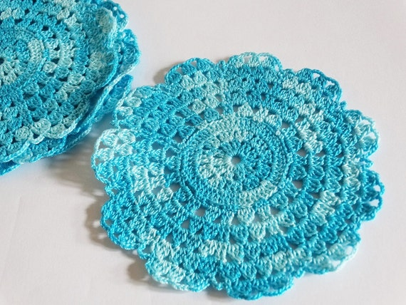 Crochet Coaster Set of 4, Blue Crochet Table Decoration Holidays Gift, Crochet Table Set, Christmas Home Decorations Blue Snowflake Coasters