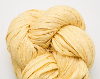 Warm Yellow Linen Cotton Nylon Blend Recycled DK to Worsted Weight Recycled Ribbon Yarn, lbl00208