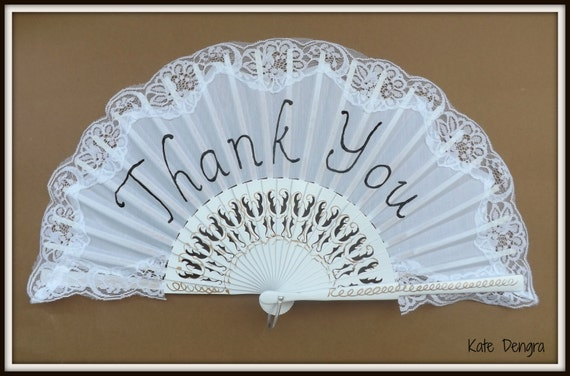 Thank You on a Traditional Lace Hand Fan Bride Wedding White with Black Font Modern Fairytale Ball Any other Word Made to Order