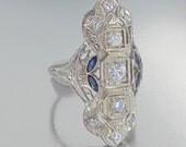 Antique Art Deco Diamond and Sapphire 18K Ring