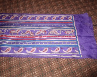 vintage ladies head neck scarf purple red scrolls oblong