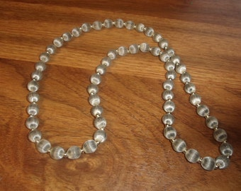 vintage necklace gray silk beads