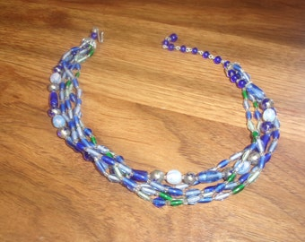 vintage necklace 4 strands blue glass choker