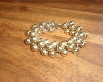 vintage bracelet goldtone metal balls