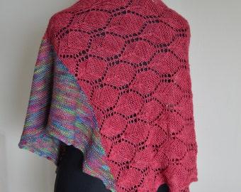 Hand Knit Original Design Lace and Garter Stitch Shawl Wrap
