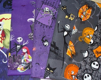 Nightmare before Christmas Fabric, 6 Fat Quarters, Jack Skellington, Jack Sally Zero, Tim Burton, Halloween Fabric