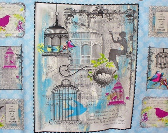 Birds Fabric, Song Birds Fabric, Cotton Panel, Song Birds, Birds, Birdcages, Nests, Quotes, Bird Vignettes, Nature Fabric, By the Panel