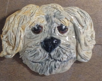 Custom pet pin handmade in US  from a lump of clay
