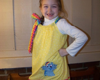 Rainbow Dash Dress, My Little Pony Pillowcase Dress, MLP, Yellow with White Polka Dots with Rainbow Chevron, Made to Order, Size 6 mos to 14