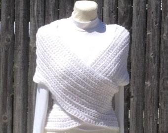 Criss Cross Vest Contouring Vest Scarf Neckwarmer Wrap Capelet Handmade Handcrocheted