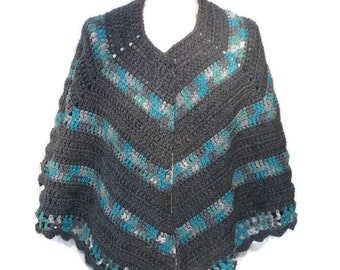 Open Poncho Shawl Crochet Handmade Crochet Cape Wrap Poncho Gift for Mom Gift for Her