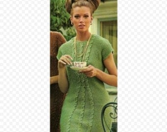 Vintage Book Includes this Knitting Dress Pattern, Bernat Cables and Raglans Patterns From the 1960s 14 patterns