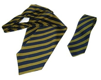 60s 70s Vintage Neckwear Tie Cravat Set Ascot Tie Blue Yellow Tie  Blue Yellow Ascot Striped Tie Menswear Blue Cravet Striped Ascot Cravat