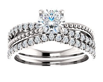 Vintage Diamond Engagement Ring Set Antique Art Deco Split Shank Milgrain Beaded Accent 14k White Gold 1 Carat
