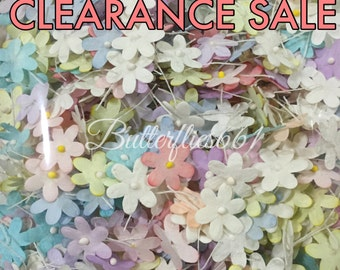 40% off CLEARANCE SALE 500 Mixed Pastel color Mini flat Handmade Scrapbook Paper Flowers  Code pastel-CL