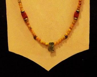 Carnelian-owl- coral handmade necklace