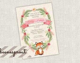 Little Fox Floral Baby Shower Invitation