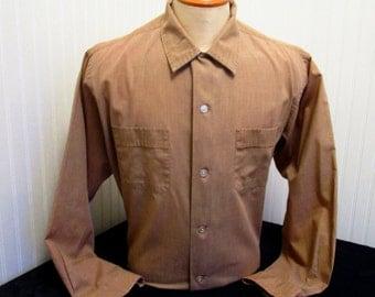 50s XL Enro Loop & Button Men's Big Collar Shirt Taupe Brown