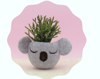 Planter / Koala head planter / Small succulent pot / Felt succulent planter / koala lover gift / grey vase / nursery decor