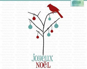 Christmas Holiday Bird in Tree - Cardinal Noel - Digital Clip Art - INSTANT DOWNLOAD - for Invites, Crafts, Collage, Cards, Scrap Booking