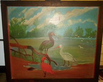 Oil on Dry Wall Marsh Bird Painting in Old Mirror Frame