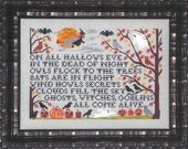 Through the Trees counted cross stitch patterns : Blue Ribbon Designs Halloween witch ghost raven hand embroidery the cottage needle