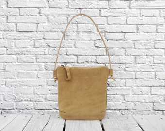 Suede leather bag, Minimalist leather small bag, leather crossbody bag, zipper women pouch, unique gift for sister women wife her