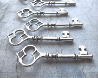 Marialva Antique Silver Skeleton Key - Set of 10
