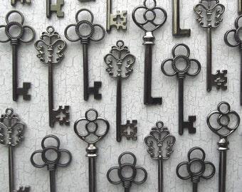 The Antero  Collection - Vintage Wedding Favors - Skeleton Key Assortment in Gunmetal Black - Set of 30 Keys - Three Styles
