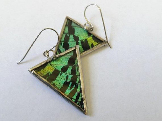 Geometric Jewelry / Sunset Moth / Butterfly Earrings