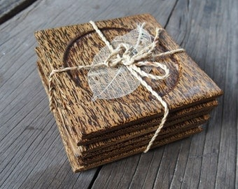 Set of 6 Pieces Square Palm Wood Coaster Unique Woodgrain Home Decor Kithchen Living Room Sturdy Lifetime Usage Christmas Gift