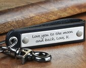 Personalized Custom Keychain - Stainless Steel & Black Leather - Hand Crafted in USA