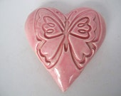 Heart Paper weight, Butterfly, Ceramic Heart Ornament, Handmade Ceramic Heart, Wall Decor,  Heart Wall Hanging, Love, Gift for a friend