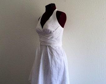 Sale 60s Style White Wrapped Waist Halter Dress. Small/ Medium