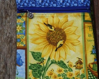 Sunflowers and Blueberries Cross Body Bag - Gifts Under 20 - Goldfinch, Earth Laughs in Flowers
