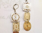 Steampunk Victorian Triple Antique Watch Face Earrings in Cream and Gold No 2
