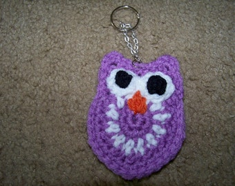 Crocheted Owl Key Chain
