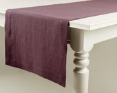 Natural table runner, Eggplant linen table runner by Lovely Home Idea